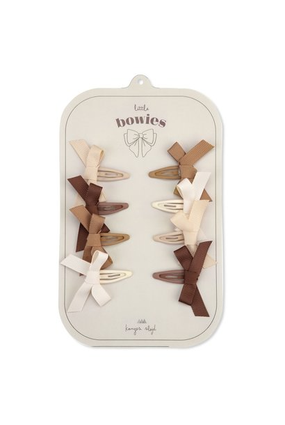 Konges Slojd hair clips bow caramel 8-pack