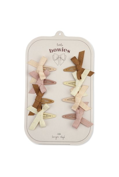 Konges Slojd hair clips bow glitter rose 8-pack