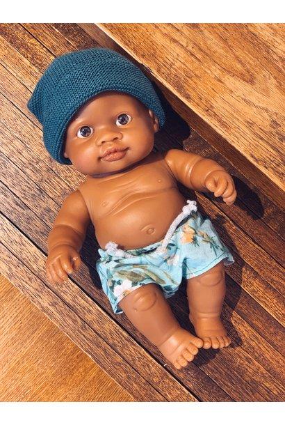 Paola Reina puppegie jongen met zwembroek en blauw mutsje
