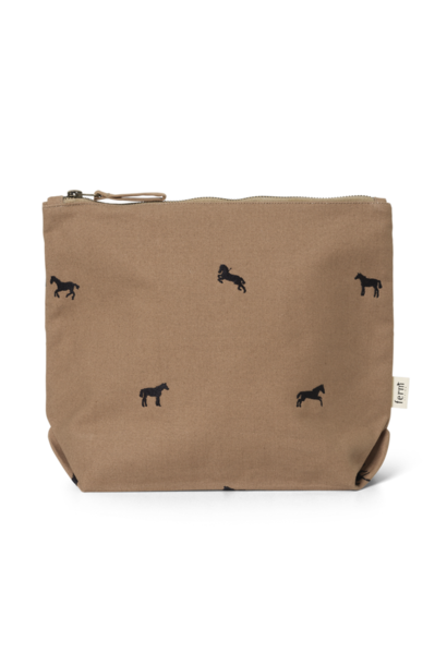 ferm LIVING horse embroidery bag large tan