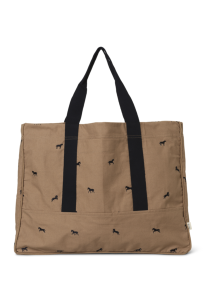 ferm LIVING horse embroidery weekend bag tan