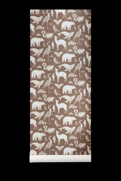 ferm LIVING katie scott wallpaper animals toffee