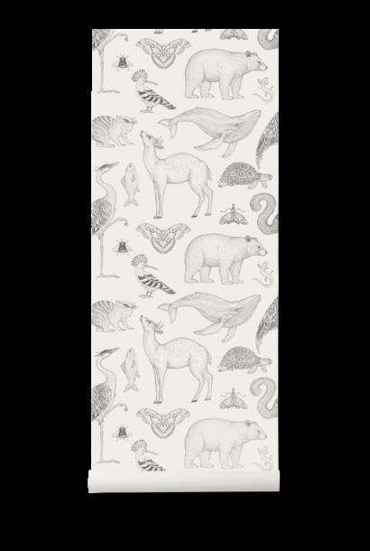 ferm LIVING katie scott wallpaper animals off white