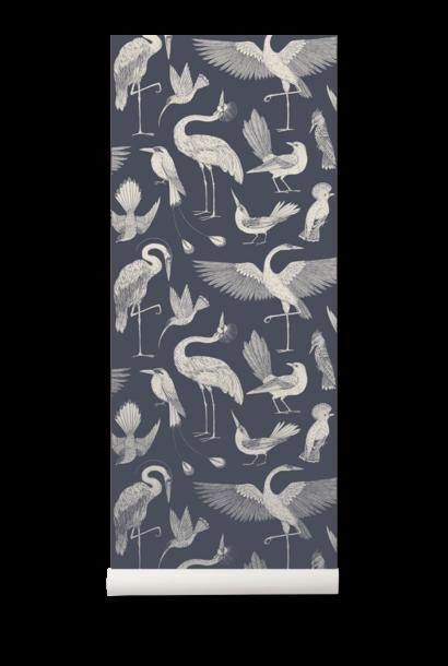 ferm LIVING katie scott wallpaper birds dark blue