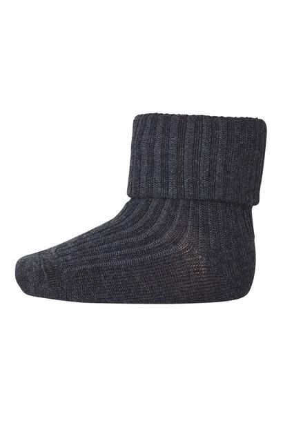 MP Denmark rib socks wool dark grey melange