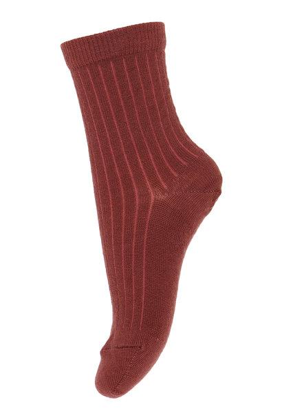 MP Denmark rib socks wool dark brick