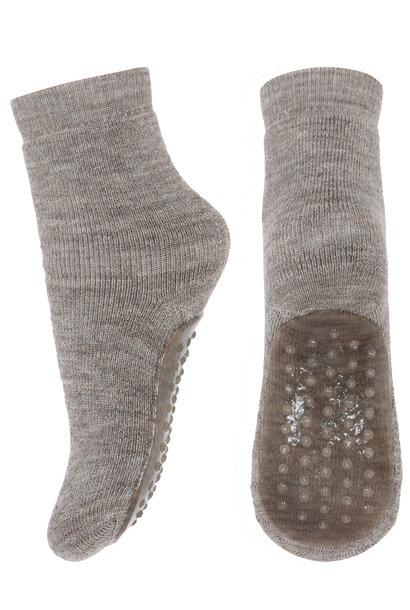MP Denmark anti-slip socks wool light brown melange