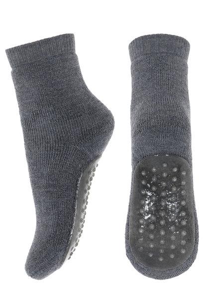 MP Denmark anti-slip socks wool dark grey melange