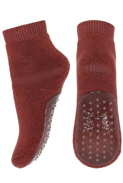 MP Denmark anti-slip socks wool dark brick