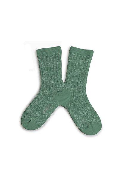 Collegien glitter sokken céladon green