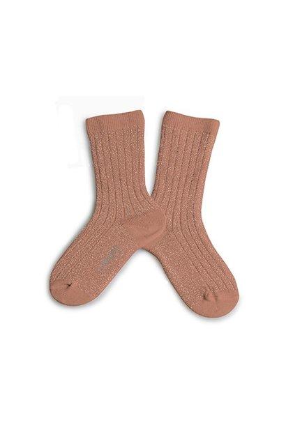 Collegien glitter sokken rose litchi