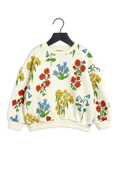 Mini Rodini sweater snow flowers aop offwhite