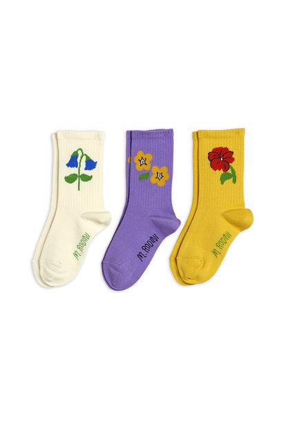Mini Rodini socks 3-pack snow flowers multi