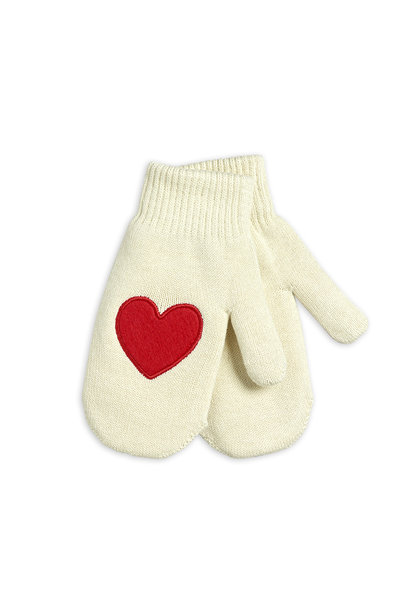 Mini Rodini knitted mittens hearts offwhite