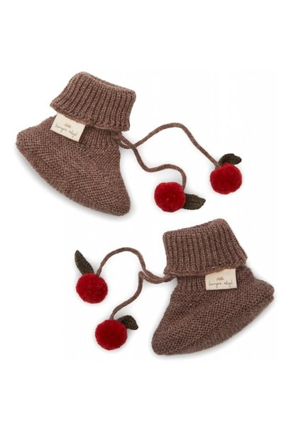 Konges Slojd knitted boots miro bunny brown melange