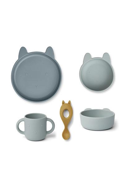 Liewood siliconen set vivi rabbit blue mix
