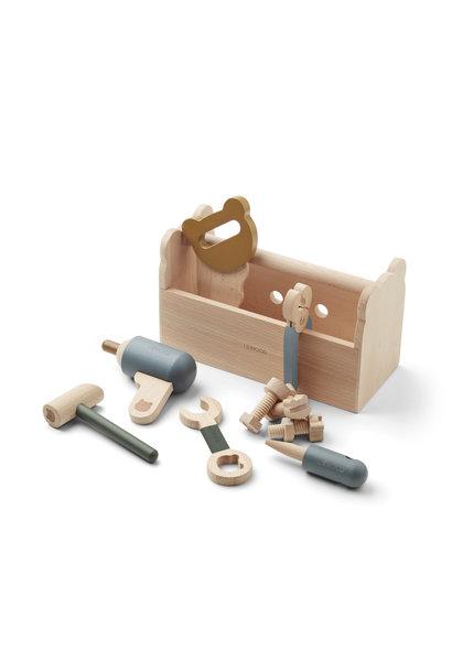 Liewood wooden tool set luigi blue mix