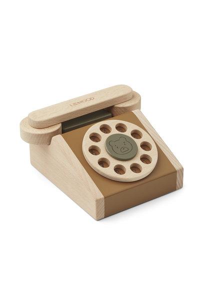 Liewood wooden phone selma golden caramel mix