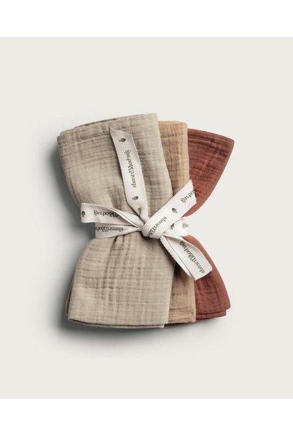 Garbo & Friends burp cloth hay 3-pack