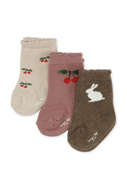 Konges Slojd socks 3-pack jacquard cherry/ bunny