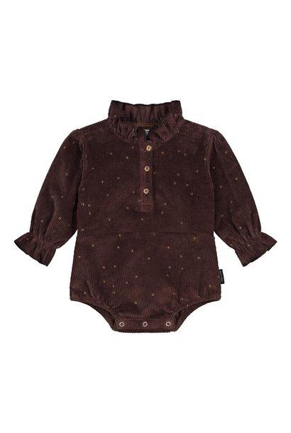 Daily Brat playsuit longsleeve ellie glitter dots brown