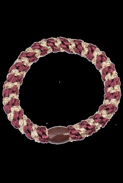 Kknekki haarelastiek rosewood- beige glitter stripes