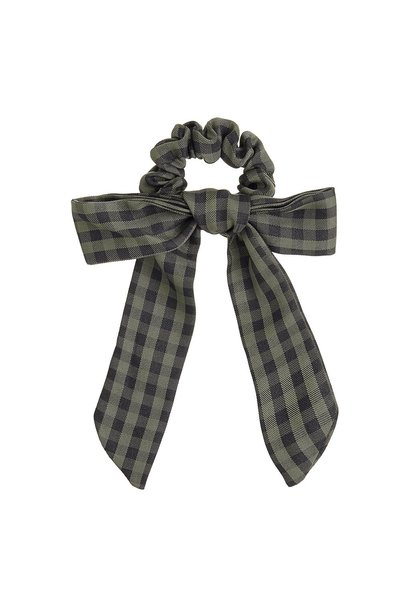 Mimi & Lula bow scrunchie gingham forest green