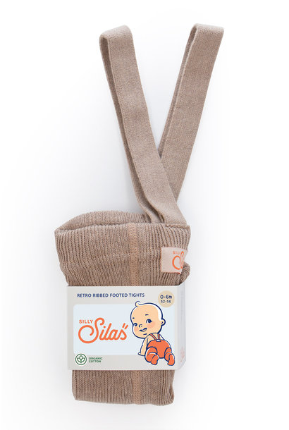 Silly Silas footed tights peanut blend