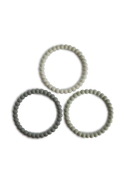 Mushie bijtspeelgoed set van 3 green-gray-sea