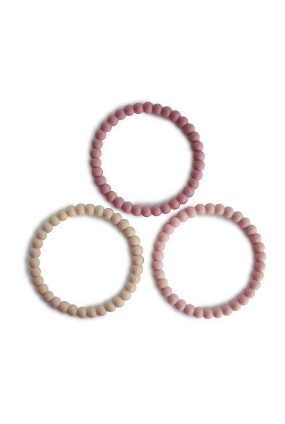 Mushie bijtspeelgoed set van 3 linen-peony-pale pink