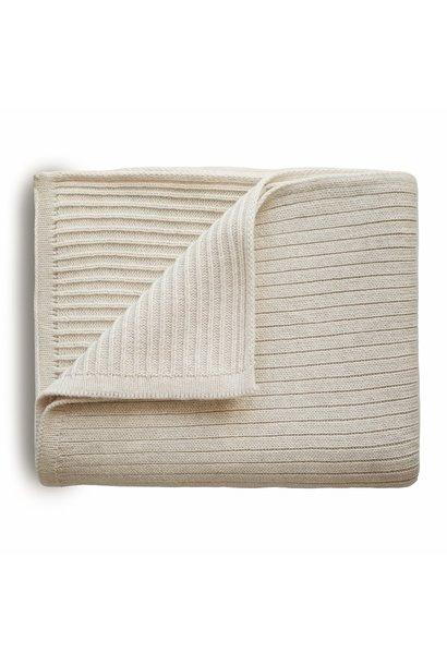Mushie knitted blanket ribbed beige melange