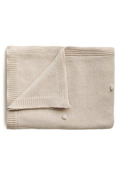 Mushie knitted blanket textured dots white melange
