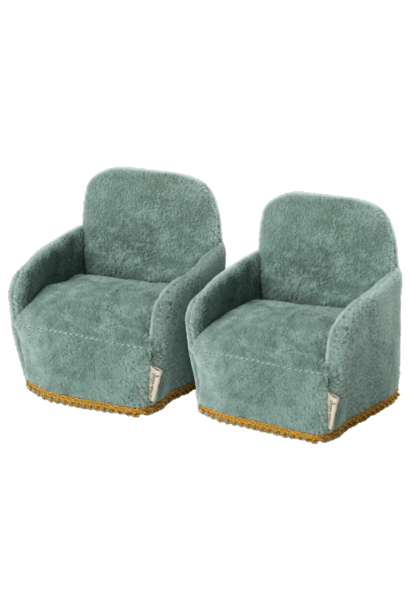 Maileg chairs 2-pack mouse blue