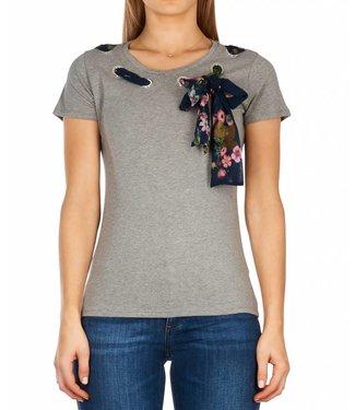 LiuJo LiuJo : T-shirt met shawl - Grey melange