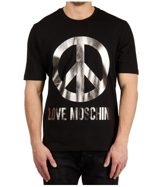 Love moschino Love Moschino : T-shirt reg peace logo Silver/ Black