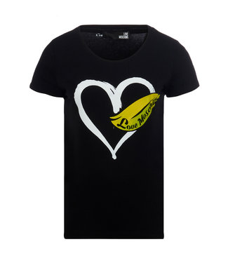 Love moschino Love Moschino : T-shirt heart with feather Black