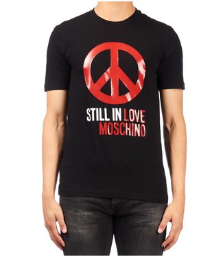 Love moschino Love Moschino : T-shirt peace logo Black- M47311SE1811