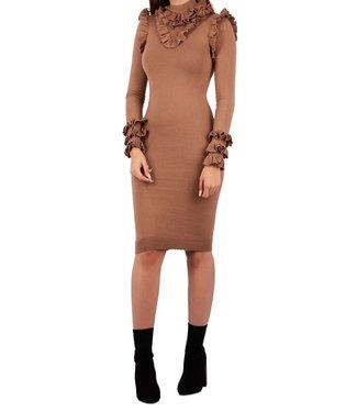 Reinders Reinders : Dress marie ruffle Wood