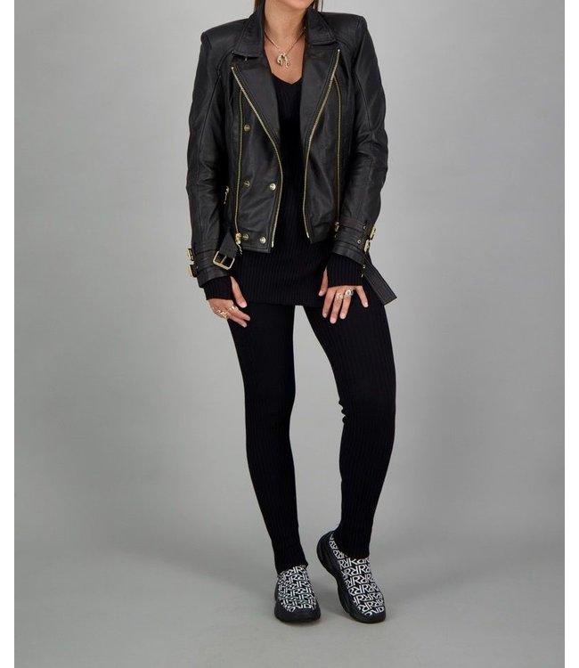 Reinders Reinders : Leather Jacket-Black-Gold