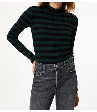 LiuJo LiuJo : turtleneckbody jewel button green-stripe