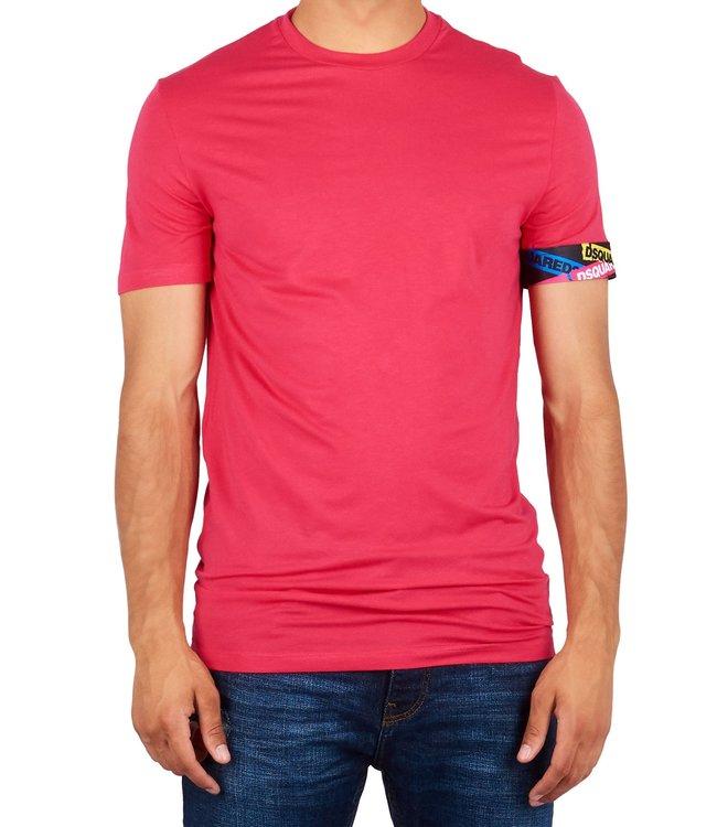 Dsquared2 Dsquared2 : T-shirt tape arm logo Pink-D9M202490