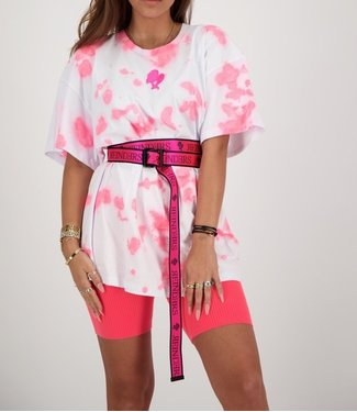 Reinders Reinders :T-shirt Tie Dye-White Pink Neon Onesize
