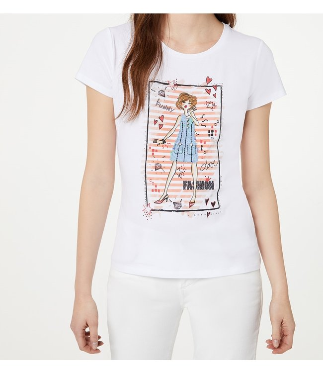 LiuJo LiuJo : T-shirt F. fashion-WA0387-White