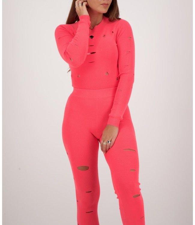 Reinders Reinders : Sweater Crop top-Pink Neon