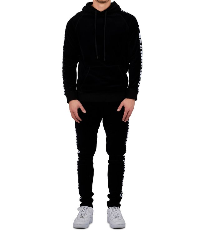 24uomo 24uomo : Velvet hoodie suit-Black