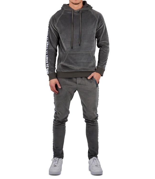 24uomo 24uomo : Velvet hoodie suit-Grey
