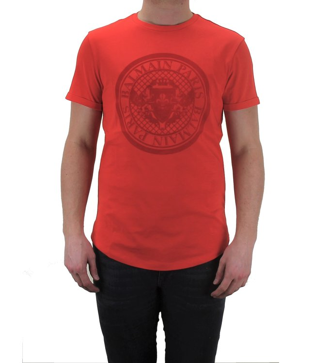 Balmain Balmain : T-shirt velvet logo-Red