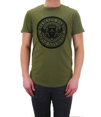 Balmain Balmain : T-shirt velvet logo-Army
