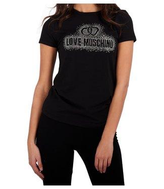 Love moschino Love Moschino : T-shirt Strass logo-Black
