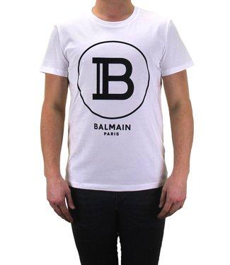 Balmain Balmain : T-shirt Black logo-White